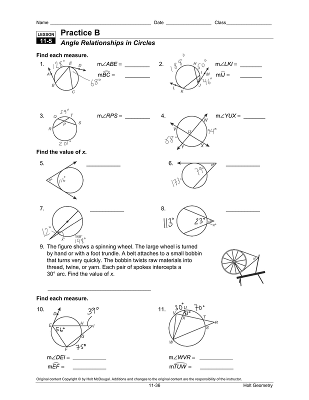 32 Arcs Central Angles And Inscribed Angles Worksheet ...